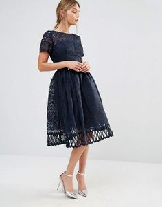 Chi Chi London | Chi Chi London Premium Lace Dress with Cutwork Detail and Cap Sleeve