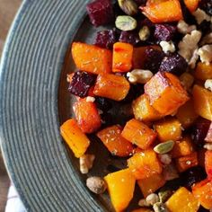 Maple roasted butternut squash and beets with walnuts and pistachios