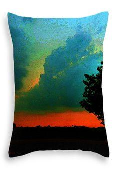 """Thunder Storm At Sunset Throw Pillow 20"""" x 14"""""""
