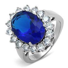 SIZE 9 HCJ STAINLESS STEEL OVAL SHAPE SAPPHIRE BLUE CZ MEN/'S RING 10