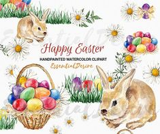 Watercolor Easter Clipart Eggs Easter Basket by EssentialDesire