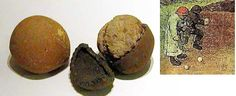 A hoard of 16th and 17th century childrens toys found at Market Harborough parish church, England via Irish Archaeology.  Medieval ball game