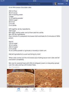 Tert Microwave Baking, Microwave Recipes, Baking Recipes, Sago Poeding, Kos, Beer Bread Mix, Chocolate Bundt Cake, South African Recipes, Dessert Sauces