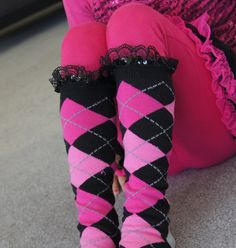Pink Girl Socks Black Sequins Lace Kids Socks High by Eastalace, $13.95 Girls Socks, Black Sequins, Pink Girl, Tights, Bows, Trending Outfits, Unique Jewelry, Lace, Handmade Gifts