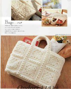 Bolsa em crochet branca com squares purse