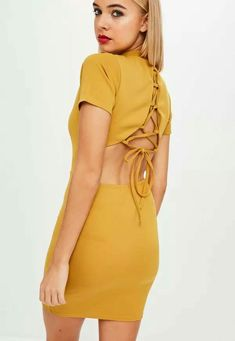 284c83cd57a Missguided High Neck Lace Up Back Dress Mustard