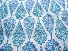 Hand Block Printed Fine Indian Pure Cotton Blue Teal and White  Fabric For Curtains /  Quilts / Dresses
