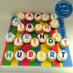 Colourful Striped Cupcake Board, made by The Foxy Cake Company!