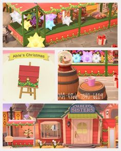 Setting up Christmas market🎄dual purpose design for panel and stall matches Ables' siding. Designs for paper star lanterns, lebkuchen etc are up also. Code MA-4866-7340-6229 Forgive the apostrophe being in the wrong place.😱 : ACQR Animal Crossing Qr Codes Clothes, Animal Crossing Game, Christmas Design, Winter Christmas, Paper Star Lanterns, Motif Acnl, Ac New Leaf, Motifs Animal, Paper Stars