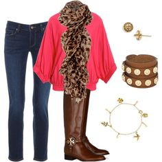 animal print scarf + brightly colored top + skinny jeans + brown & caramel accessories