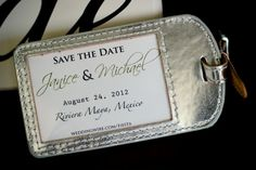 This is such a great destination wedding save the date idea - luggage tags for all of the guests!