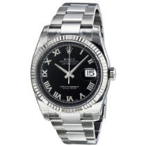 Stainless steel case with a stainless steel oyster bracelet. Black dial with silver-tone hands and Roman numeral hour markers. Stainless Steel Jewelry, Stainless Steel Watch, Rolex Wrist Watch, Buy Rolex, Rolex Women, Rolex Oyster Perpetual, Rolex Watches, Analog Watches, Rolex Datejust