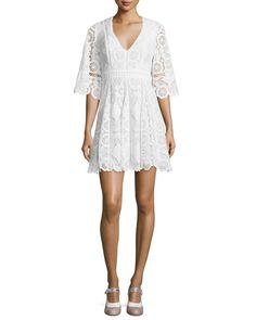 TBYD7 Alexis Webb 3/4-Sleeve Lace Mini Dress, White