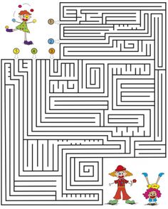 medium kids maze games clowns