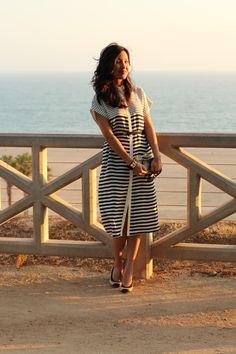 Tibi dress, Hermes cuff, lucite clutch, Chanel cap toe pumps, Prada sunglasses