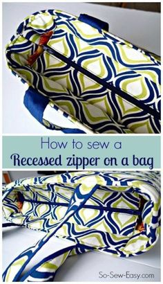 Video step by step tutorial on how to add a recessed zipper to ANY bag sewing pattern. Once you know the technique, it's easy to add this sort of closure to the top of almost any bag pattern. Great (Diy Step How To Sew) Bag Patterns To Sew, Sewing Patterns Free, Free Sewing, Quilted Purse Patterns, Handbag Patterns, Pattern Sewing, Sewing Hacks, Sewing Tutorials, Sewing Tips