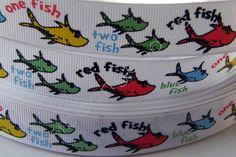 One Fish Two Fish Red Fish Blue Fish Grosgrain Ribbon. $7.00, via Etsy.