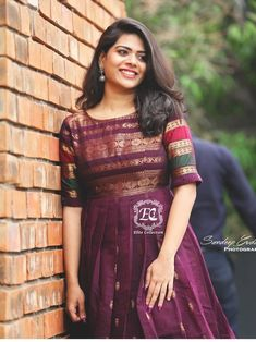 Gowns and dress ideas from old sarees - Simple Craft Ideas - mueduzu Kaftan Designs, Lehenga Designs, Salwar Designs, Half Saree Designs, Kurta Designs Women, Kurti Designs Party Wear, Saree Blouse Designs, Dress Designs, Frock Design