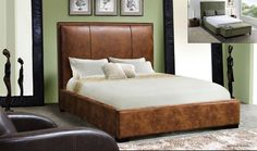 Queen Bed Joyce Collection Joyce-Q (Queen Bed) Blended Leather Finish: Bomber Brown Dimension: Queen Bed:67 x 93 x 56 California King Bed:79 x 97 x 56 Eastern King Bed:83 x 93 x 56
