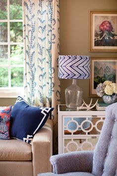 greek key pillow, mirrored chest, john robshaw frabic, batik lamp shade, southern style, design by jamie meares