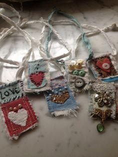 Textile Pendant, Red Heart. $25.00, via Etsy.