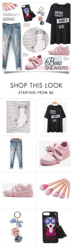 """Bow Sneakers"" by mahafromkailash ❤ liked on Polyvore"