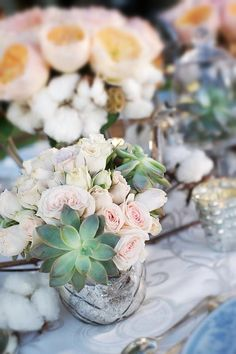Pale pink with frosty green succulents