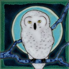 Pbt Snowy Owl Painting Ceramic Tiles Tile Art Handmade