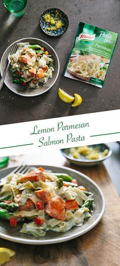 skip the meat this week and try this lemon parmesan salmon pasta season salmon w