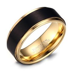 8mm Mens Black Tungsten Wedding Band Ring 18k Gold Plated With Matte Domed Brushed and Polished Finish Edges