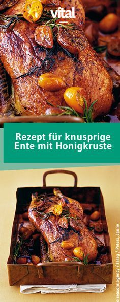 Delicious duck recipes- Leckere Entenrezepte Make your festive menu a real highlight with this crispy roast duck. Duck Recipes, Chicken Recipes, Pie Recipes, Cooking Recipes, Vegetarian Recipes, Healthy Recipes, Delicious Recipes, Roast Duck, Food Porn