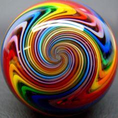 Kris Parke 2014 Reverse Twist Rainbow Marble 1.5 Inches