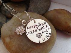 Dream Wish dandelion hand stamped  neckalce by thecharmedwife, $31.00