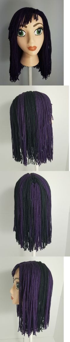 Hats 15630: Handmade Crochet Disney Descendant Mal Inspired Wig Beanie With Handpainted Head -> BUY IT NOW ONLY: $40 on eBay!