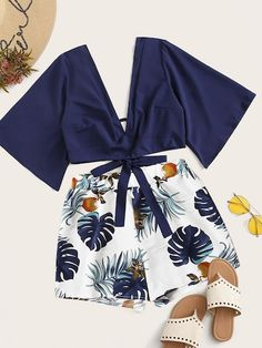 To find out about the Tie Back Plunging Neck Top & Tropical Print Shorts at SHEIN, part of our latest Two-piece Outfits ready to shop online today! Girls Fashion Clothes, Teen Fashion Outfits, Outfits For Teens, Girl Fashion, Summer Outfits, Pink Clothes, Cute Girl Outfits, Cute Casual Outfits, Stylish Outfits