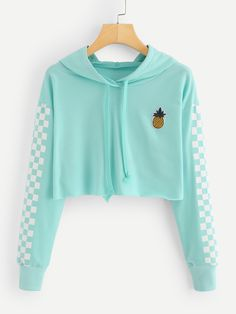 Pineapple Embroidered Gingham Crop HoodieFor Women-romwe