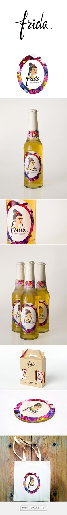 Frida, Cerveza Mexicana (con Elia Moliner) via Domestika curated by Packaging Diva PD. Feminine please beer packaging. Cool Packaging, Beverage Packaging, Bottle Packaging, Brand Packaging, Packaging Design, Web Design, Label Design, Creative Design, Logo Design