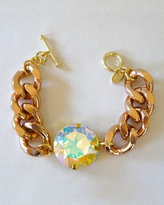 The Chunky Aurora Borealis Crystal Bracelet by JewelMint.com, $29.99.  I wish the length were smaller!