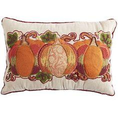 Harvest Beaded Pumpkin Lumbar Pillow