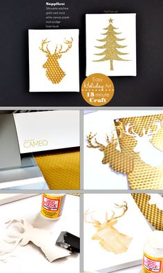 Easy DIY Gold and White Christmas Wall Art at TidyMom.net