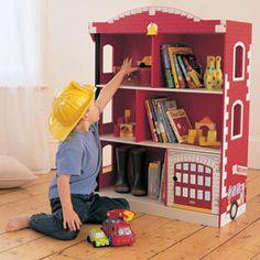 Kijiji: wooden fire station bookshelf - use as bookshelf or rescue toy