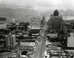 February Downtown Vancouver at dusk, looking north. Vancouver Photos, Downtown Vancouver, Vancouver Island, Iconic Photos, Old Photos, West Coast Canada, Western Canada, Most Beautiful Cities, Historical Pictures
