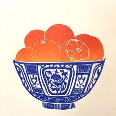 Oranges in a Blue Bowl