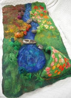 Waldorf Play scape Play mat hand felted Play item with by SooSun