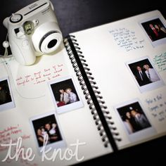 unique guest book idea...guests take photos of themselves and then paste them with a hand written note.