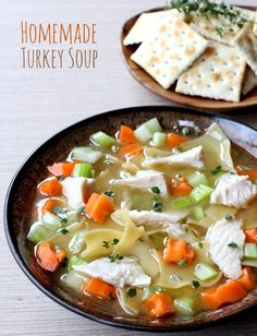 Don't throw away the turkey carcass after Thanksgiving, make Homemade Turkey Soup! The best soup ever starts from scratch. Don't throw away the turkey carcass after Thanksgiving, make Homemade Turkey Soup! The best soup ever starts from scratch. Best Turkey Soup, Turkey Soup From Carcass, Homemade Turkey Soup, Turkey Noodle Soup, Leftovers Recipes, Turkey Recipes, Soup Recipes, Cooking Recipes, Healthy Recipes