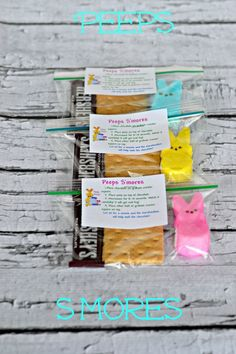 Peeps S'mores-Easy to make and a great gift to receive!  Use as party favors, place cards at dinner, or put in an Easter Basket