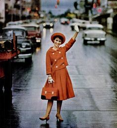 Orange skirt jacket and hat in Life, 1958.    Yes please!