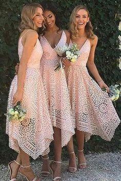 A-Line V-Neck Spaghetti Straps Asymmetrical Pink Lace Bridesmaid Dress PM93