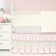 Vintage, Pink, Minky, & Lace! Love the combination & the texture in this adorable baby girl crib bedding set <3